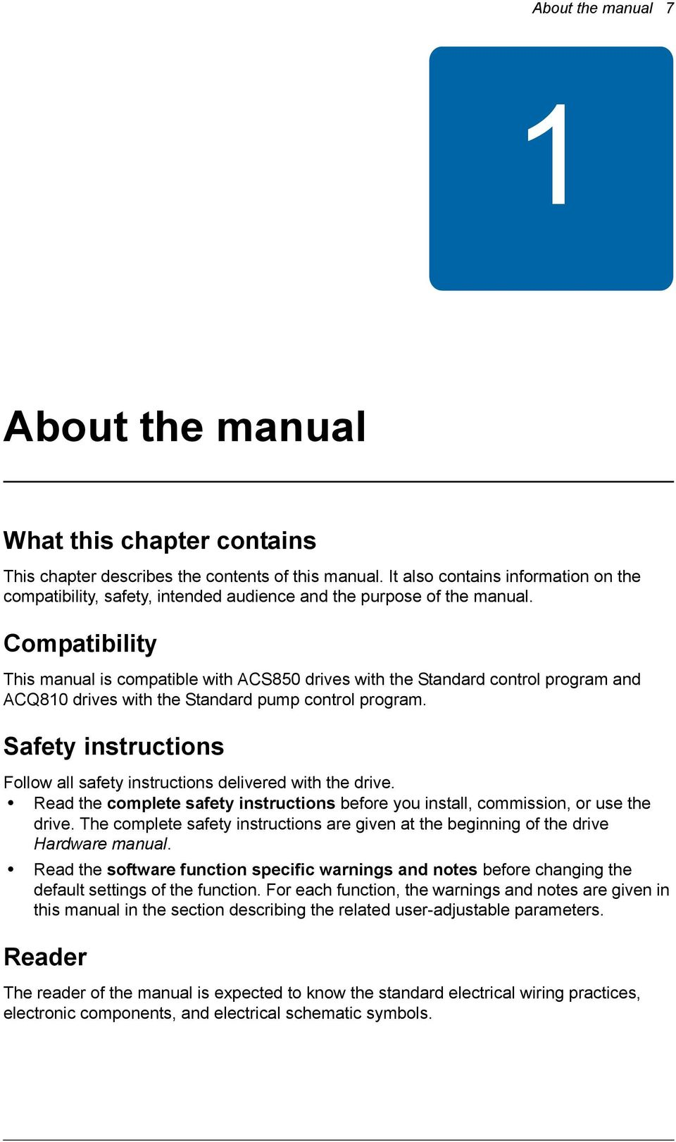 Compatibility This manual is compatible with ACS850 drives with the Standard  control program and ACQ810 drives