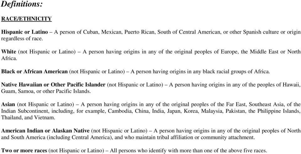 Black or African American (not Hispanic or Latino) A person having origins in any black racial groups of Africa.