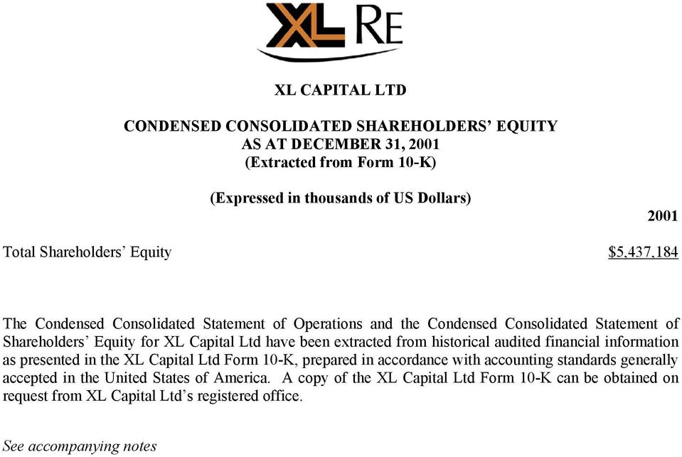 have been extracted from historical audited financial information as presented in the XL Capital Ltd Form 10-K, prepared in accordance with accounting standards