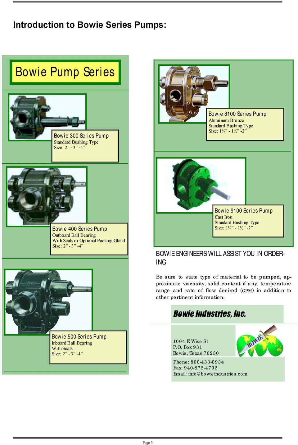 viscosity, Bowie solid 9100 content Series if any, Pump temperature range and rate Cast of Iron flow desired (g.p.m.) in addition to other pertinent Standard Bushing information.