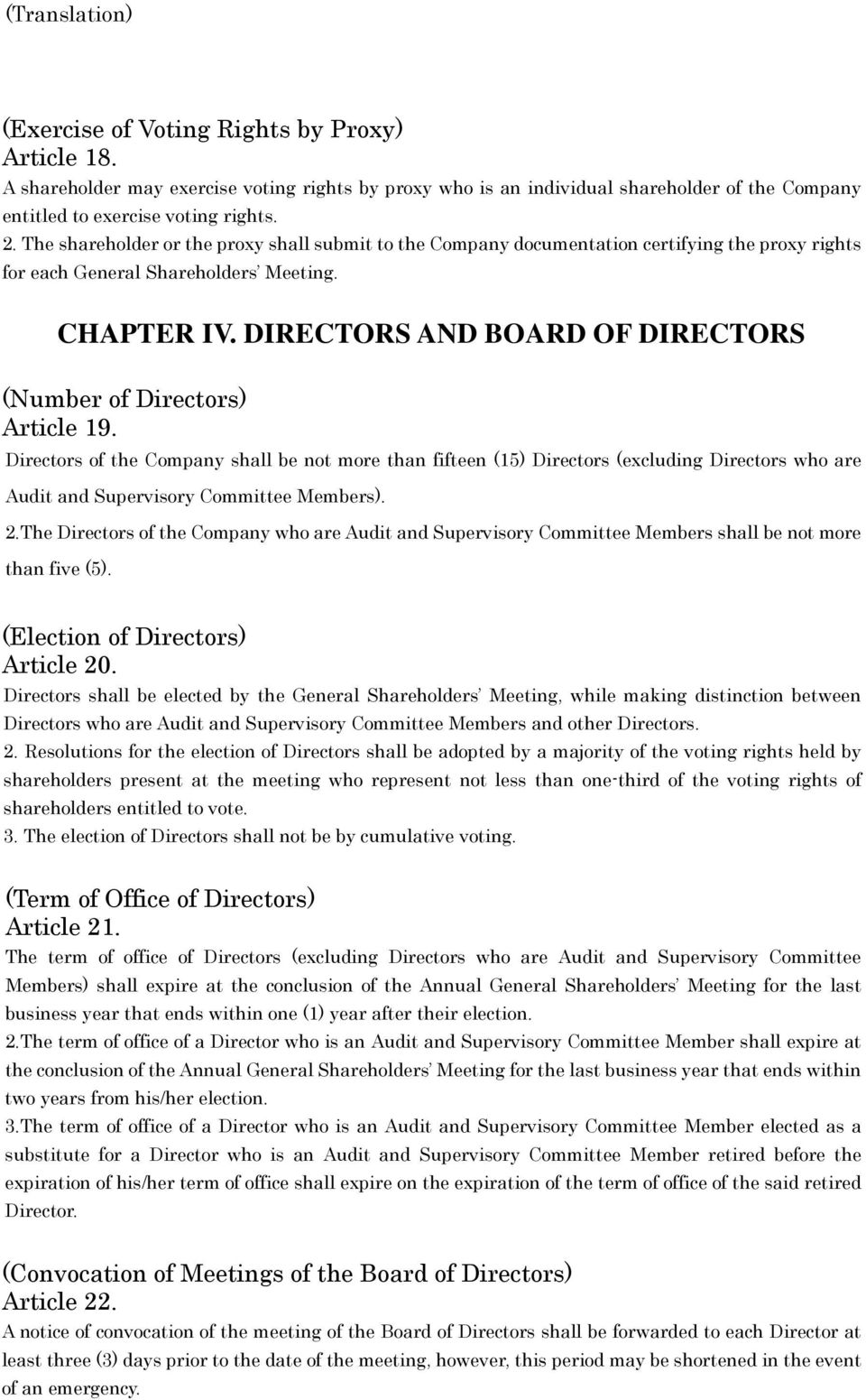 DIRECTORS AND BOARD OF DIRECTORS (Number of Directors) Article 19.