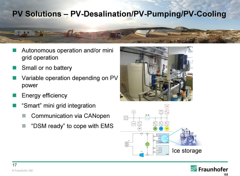 operation depending on PV power Energy efficiency Smart mini grid