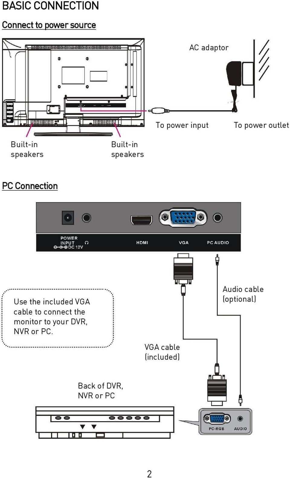 Use the included VGA cable to connect the monitor to your DVR, NVR