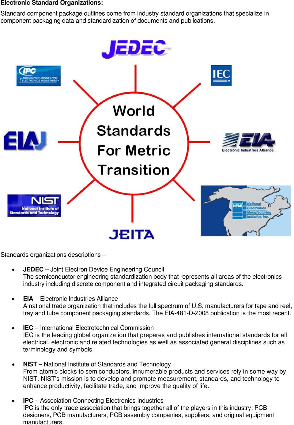 Standards organizations descriptions JEDEC Joint Electron Device Engineering Council The semiconductor engineering standardization body that represents all areas of the electronics industry including
