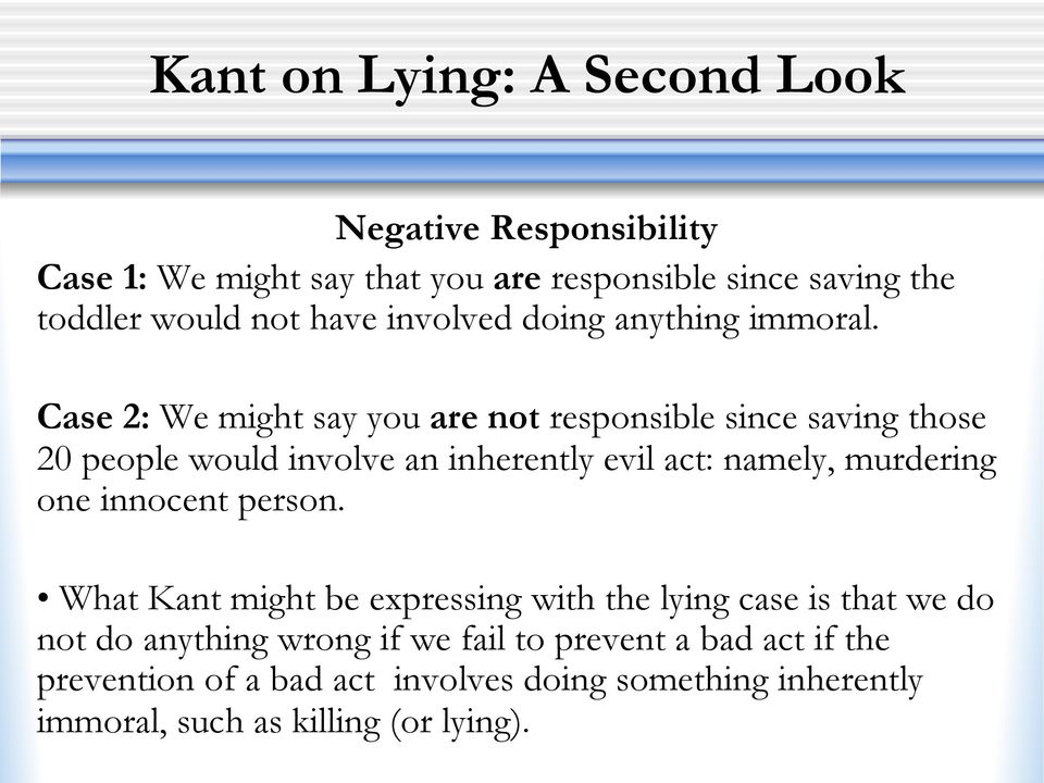 Case 2: We might say you are not responsible since saving those 20 people would involve an inherently evil act: namely, murdering one