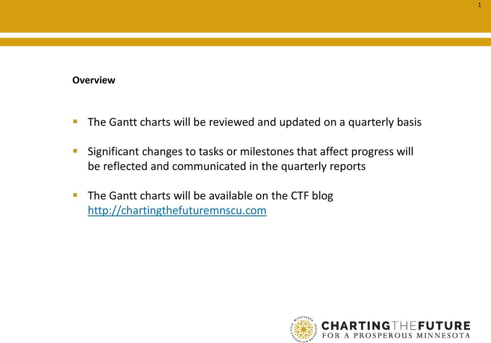 will be reflected and communicated in the quarterly reports The Gantt