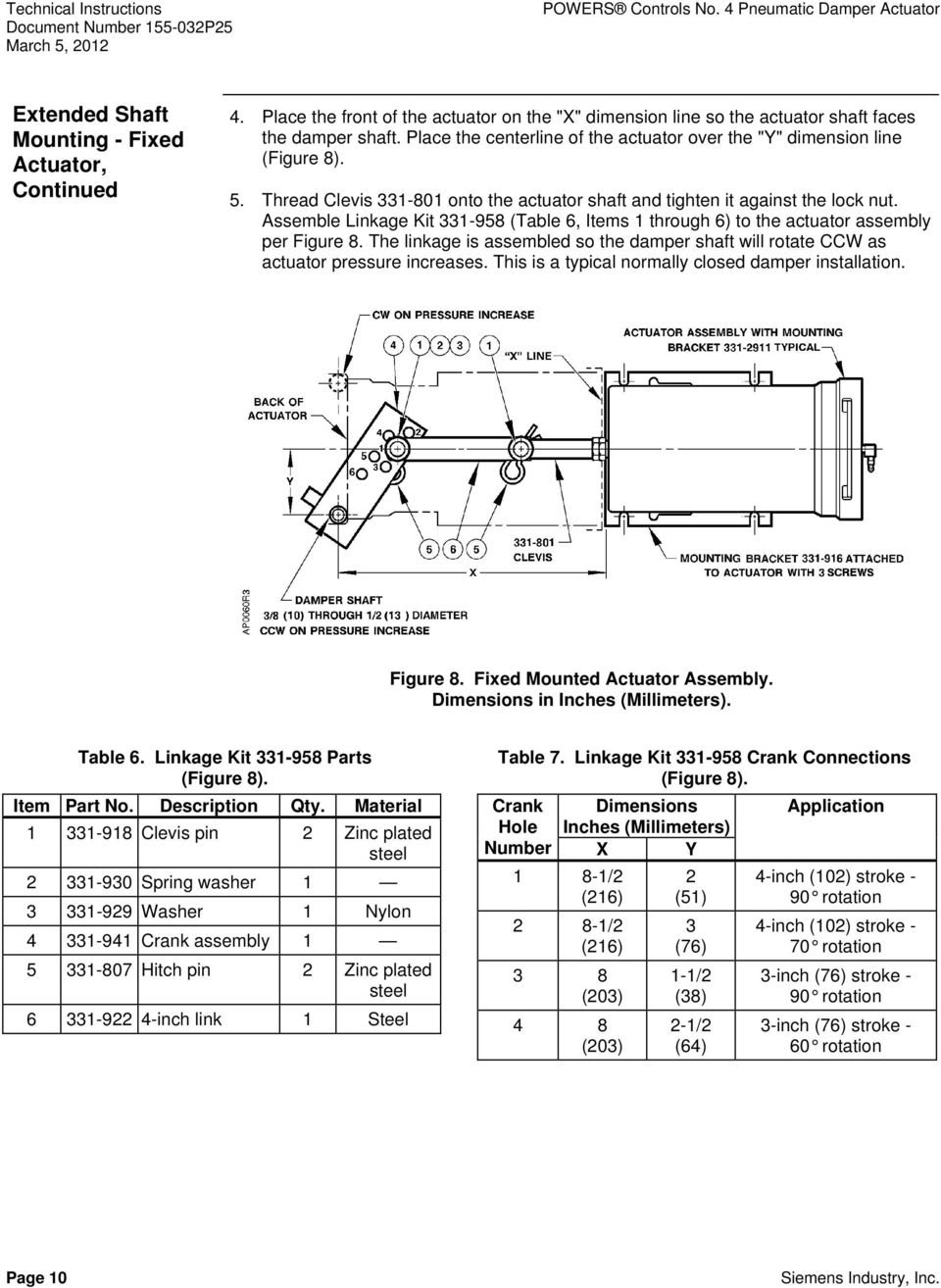 Thread Clevis 331-801 onto the actuator shaft and tighten it against the lock nut. Assemble Linkage Kit 331-958 (Table 6, Items 1 through 6) to the actuator assembly per Figure 8.