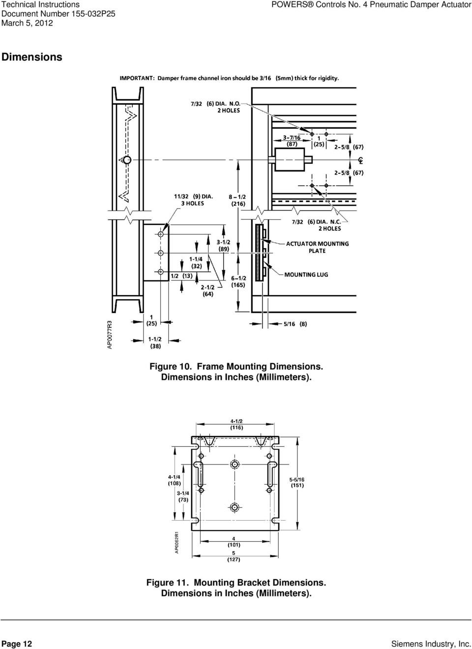Figure 10. Frame Mounting Dimensions.