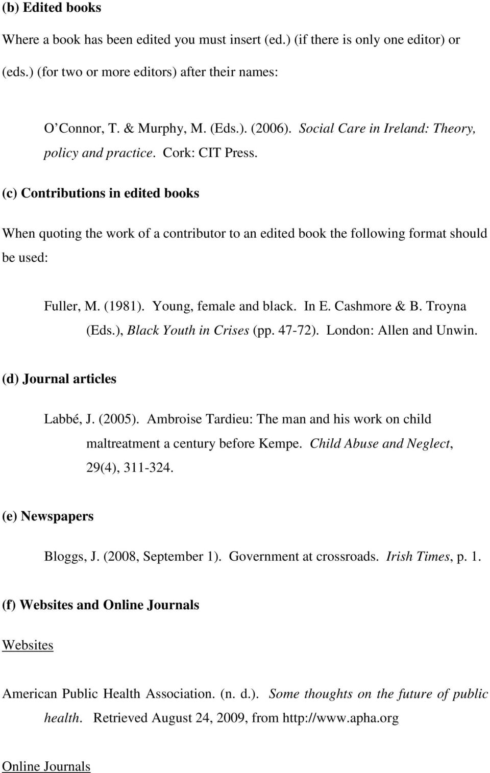 (c) Contributions in edited books When quoting the work of a contributor to an edited book the following format should be used: Fuller, M. (1981). Young, female and black. In E. Cashmore & B.