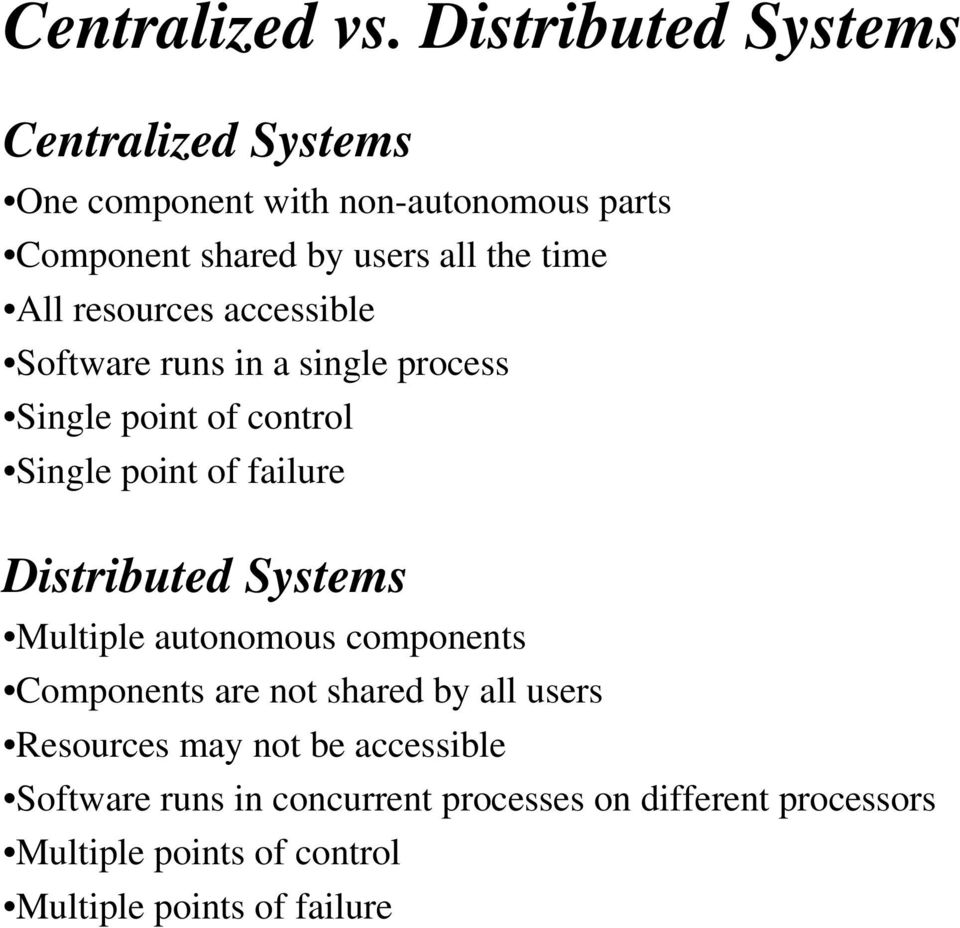 All resources accessible Software runs in a single process Single point of control Single point of failure Distributed