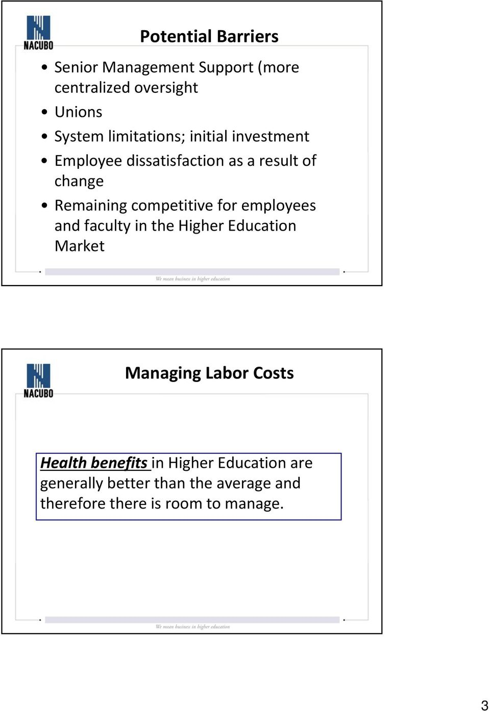 competitive for employees and faculty in the Higher Education Market Managing Labor Costs