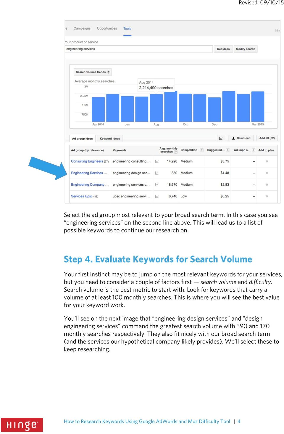 Evaluate Keywords for Search Volume Your first instinct may be to jump on the most relevant keywords for your services, but you need to consider a couple of factors first search volume and difficulty.