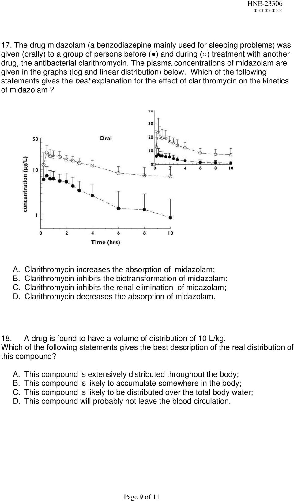 Which of the following statements gives the best explanation for the effect of clarithromycin on the kinetics of midazolam? A. Clarithromycin increases the absorption of midazolam; B.