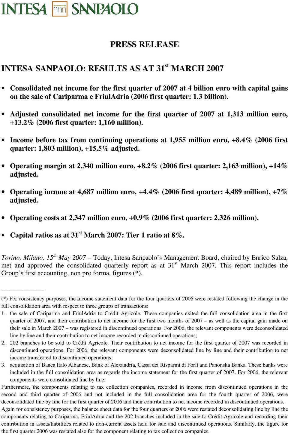 Income before tax from continuing operations at 1,955 million euro, +8.4% (2006 first quarter: 1,803 million), +15.5% adjusted. Operating margin at 2,340 million euro, +8.