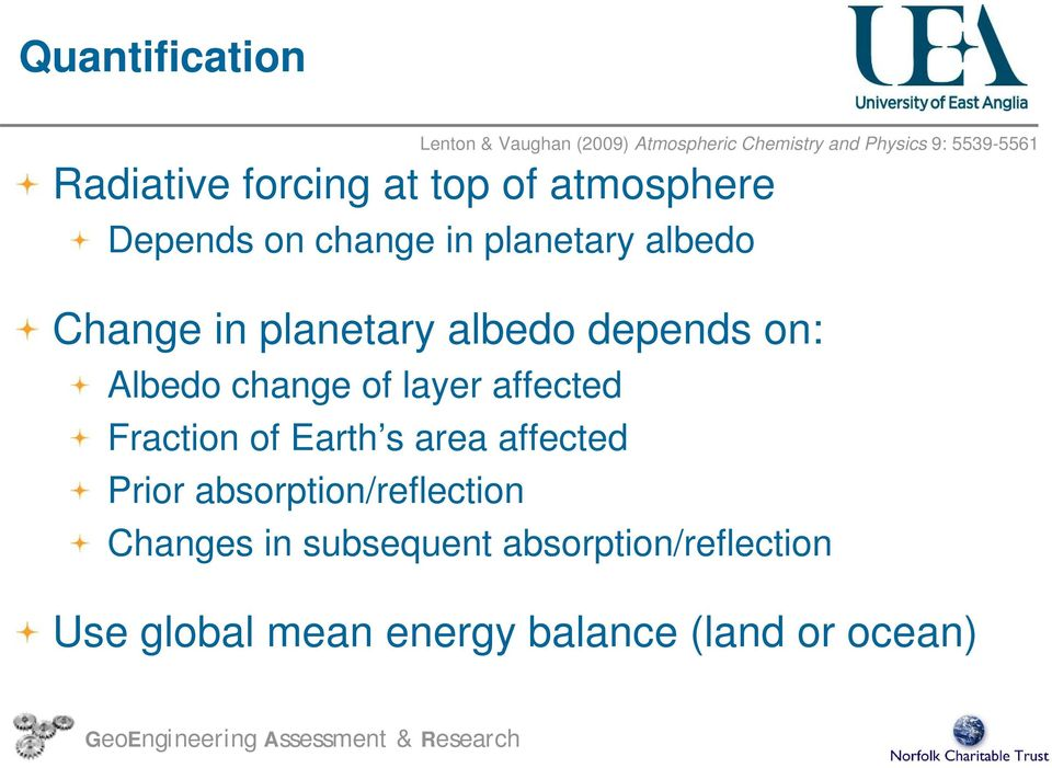 depends on: Albedo change of layer affected Fraction of Earth s area affected Prior