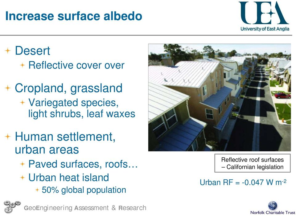 settlement, urban areas Paved surfaces, roofs Urban heat island 50%