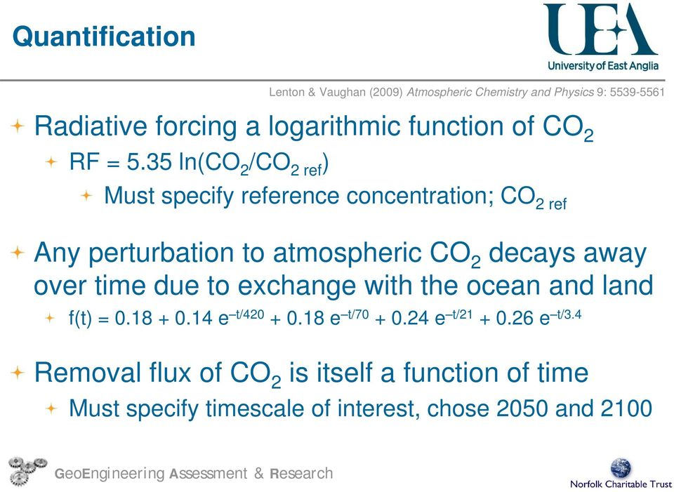35 ln(co 2 /CO 2 ref ) Must specify reference concentration; CO 2 ref Any perturbation to atmospheric CO 2 decays away