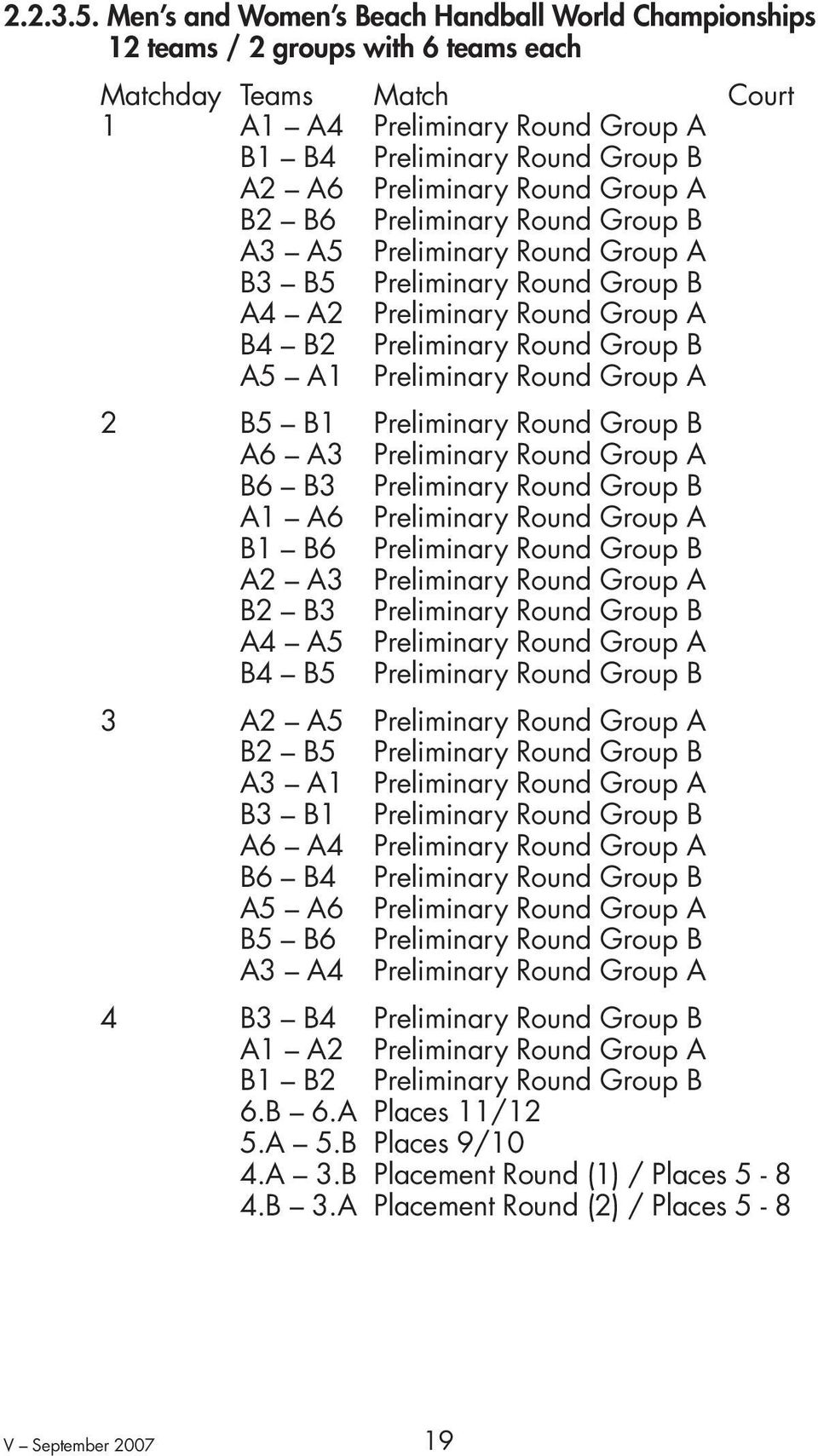 Preliminary Round Group A B2 B6 Preliminary Round Group B A3 A5 Preliminary Round Group A B3 B5 Preliminary Round Group B A4 A2 Preliminary Round Group A B4 B2 Preliminary Round Group B A5 A1