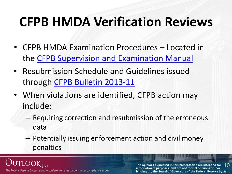 Bulletin 2013-11 When violations are identified, CFPB action may include: Requiring correction