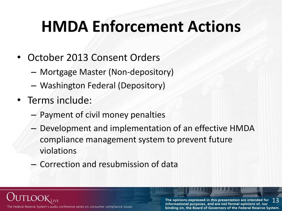 civil money penalties Development and implementation of an effective HMDA