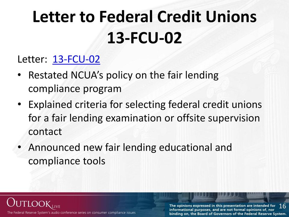 selecting federal credit unions for a fair lending examination or offsite