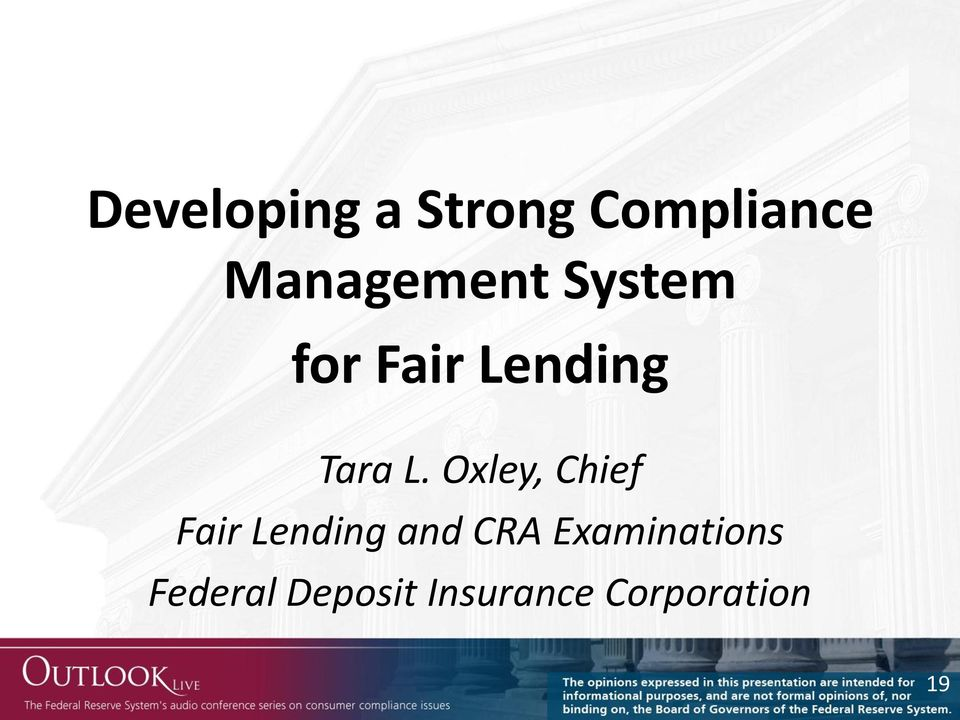 L. Oxley, Chief Fair Lending and CRA