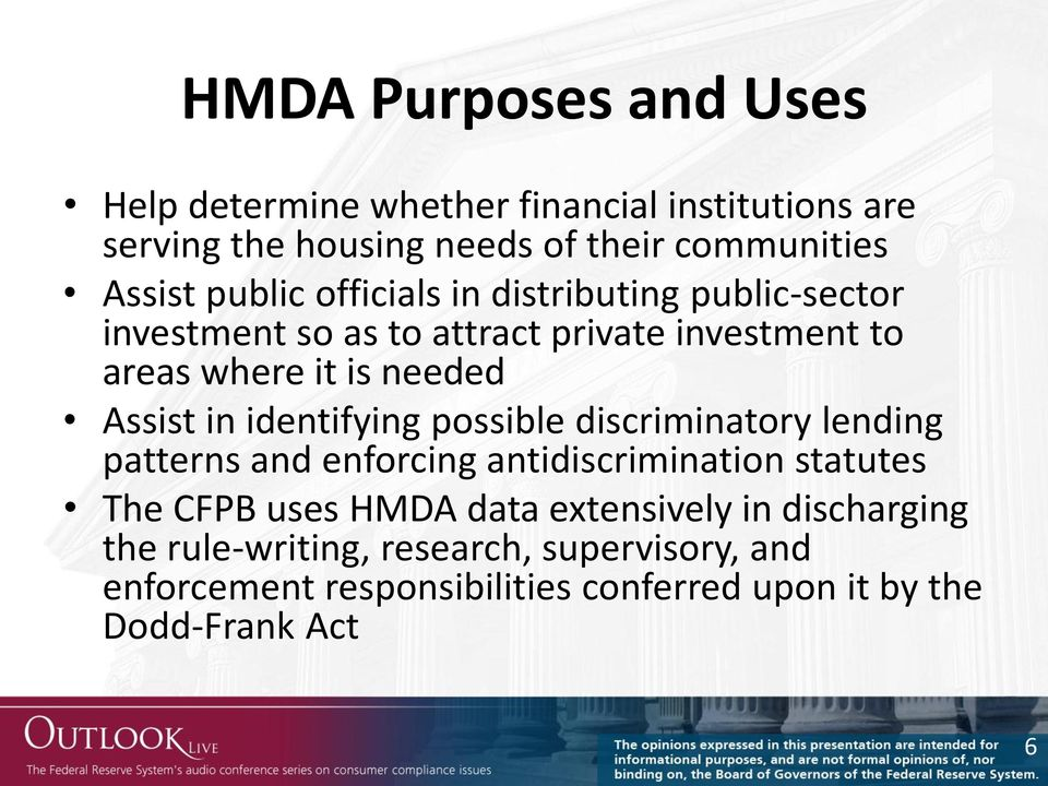 in identifying possible discriminatory lending patterns and enforcing antidiscrimination statutes The CFPB uses HMDA data