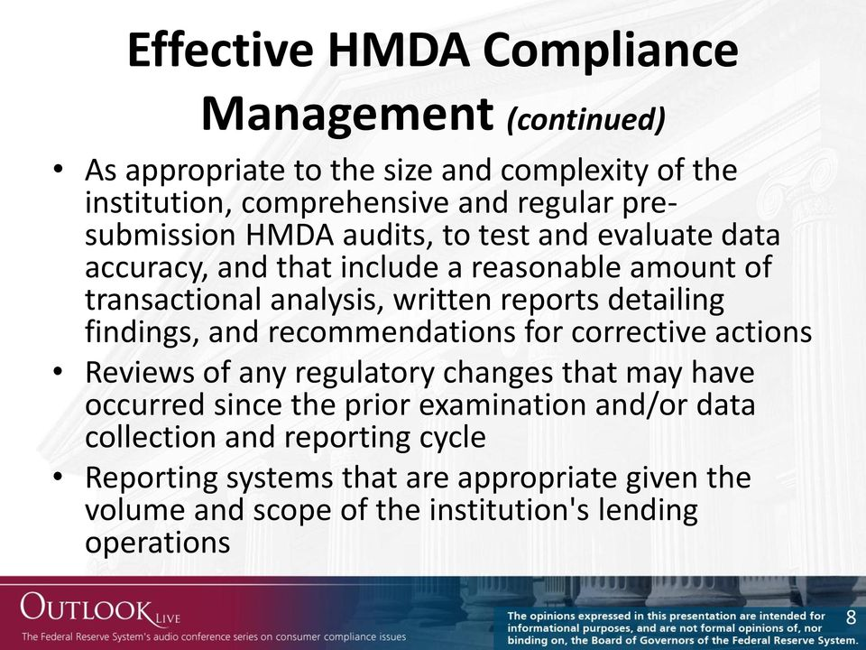 detailing findings, and recommendations for corrective actions Reviews of any regulatory changes that may have occurred since the prior