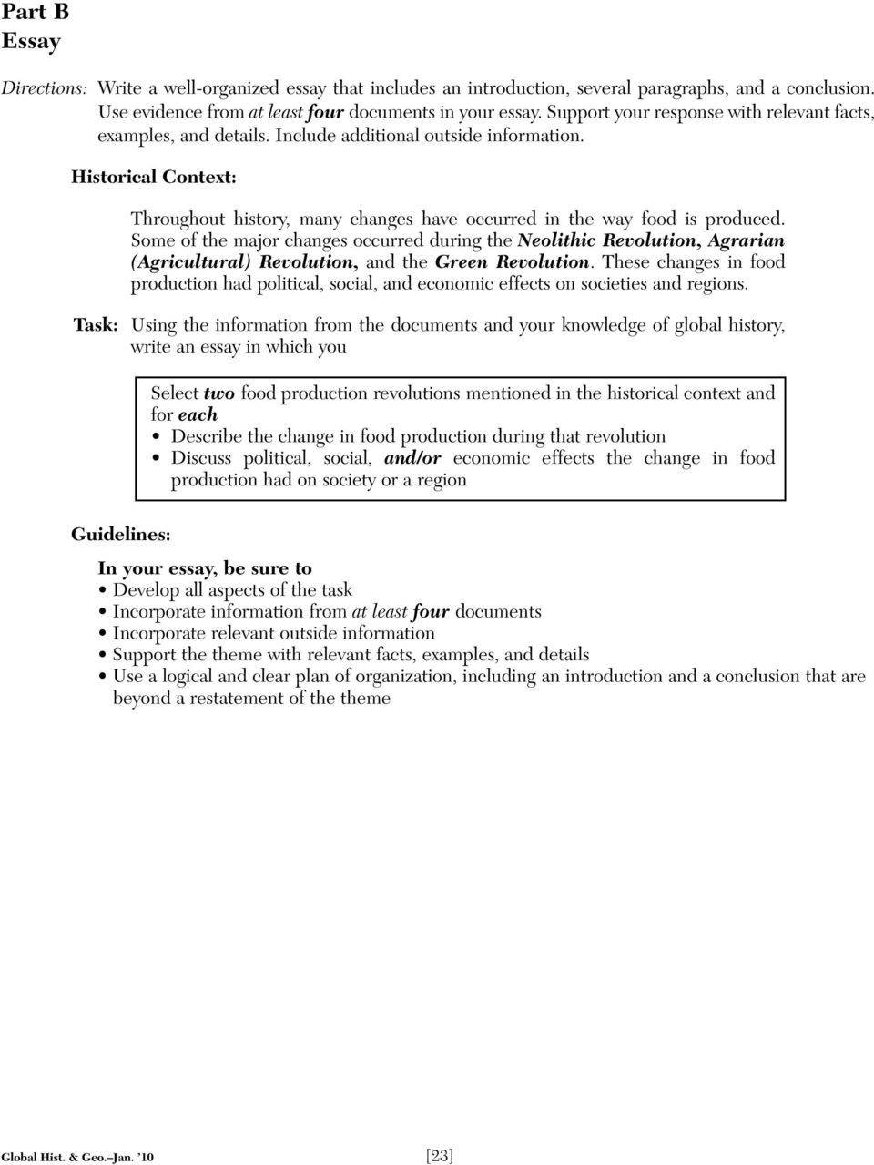 Analytical Essay Thesis Example Historical Context Throughout History Many Changes Have Occurred In The  Way Food Is Produced Writing A High School Essay also Examples Of Essay Papers Name School Part Iii Documentbased Question  Pdf Political Science Essay
