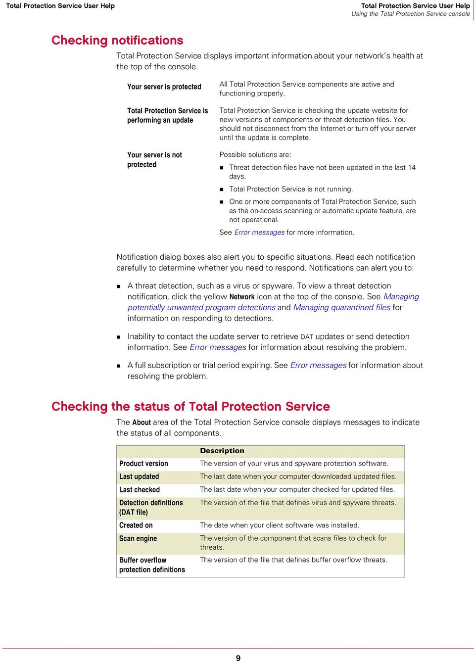Total Protection Service is checking the update website for new versions of components or threat detection files.