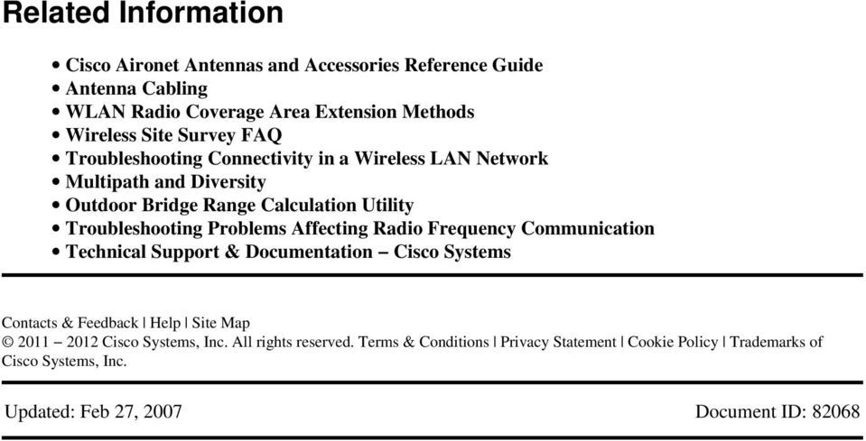 Problems Affecting Radio Frequency Communication Technical Support & Documentation Cisco Systems Contacts & Feedback Help Site Map 2011 2012 Cisco