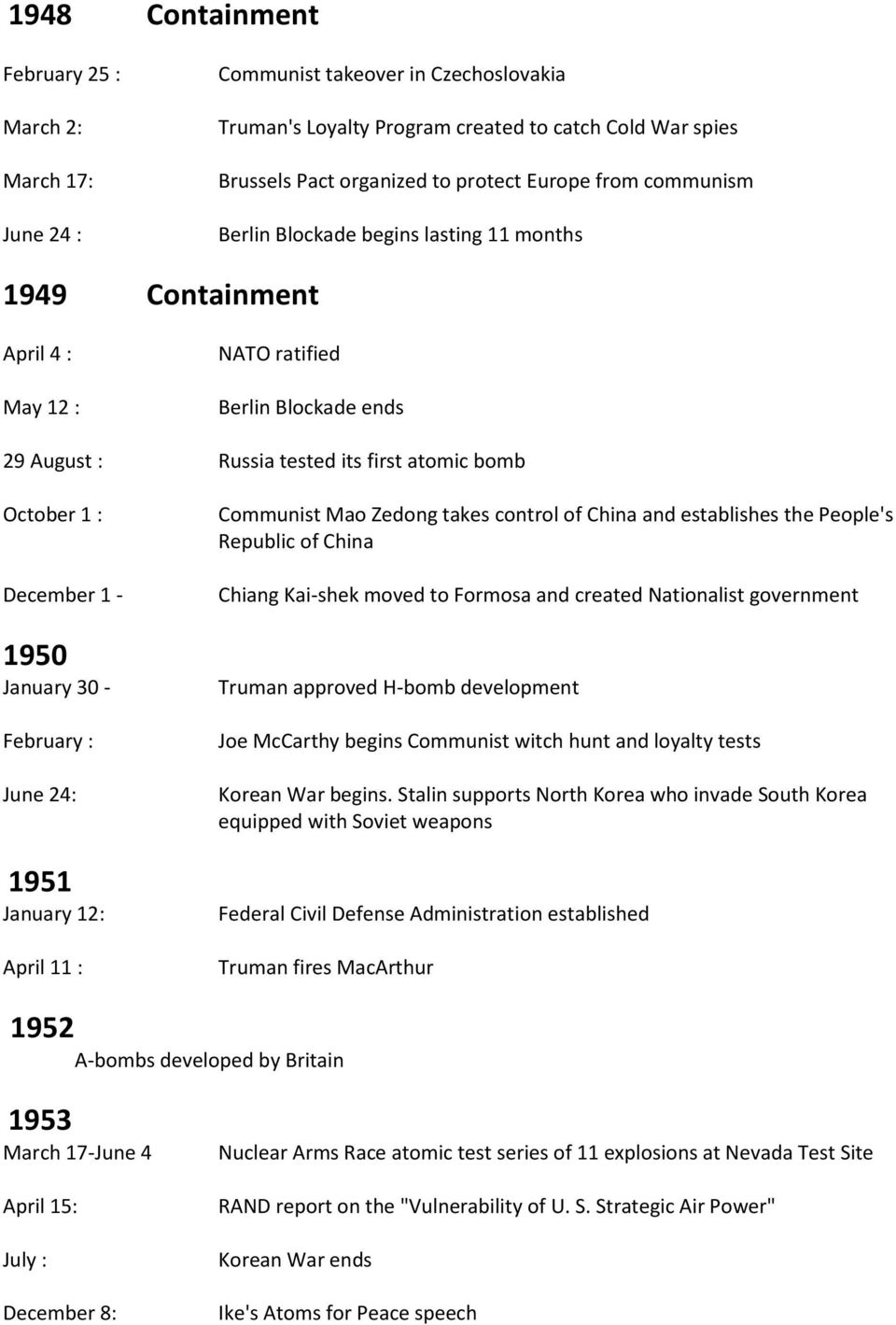 January 30 - February : June 24: 1951 January 12: April 11 : Communist Mao Zedong takes control of China and establishes the People's Republic of China Chiang Kai-shek moved to Formosa and created