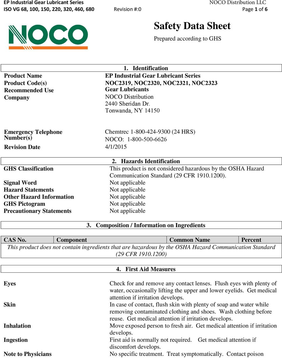 Tonwanda, NY 14150 Emergency Telephone Number(s) Revision Date 4/1/2015 Chemtrec 1-800-424-9300 (24 HRS) NOCO: 1-800-500-6626 GHS Classification Signal Word Hazard Statements Other Hazard Information