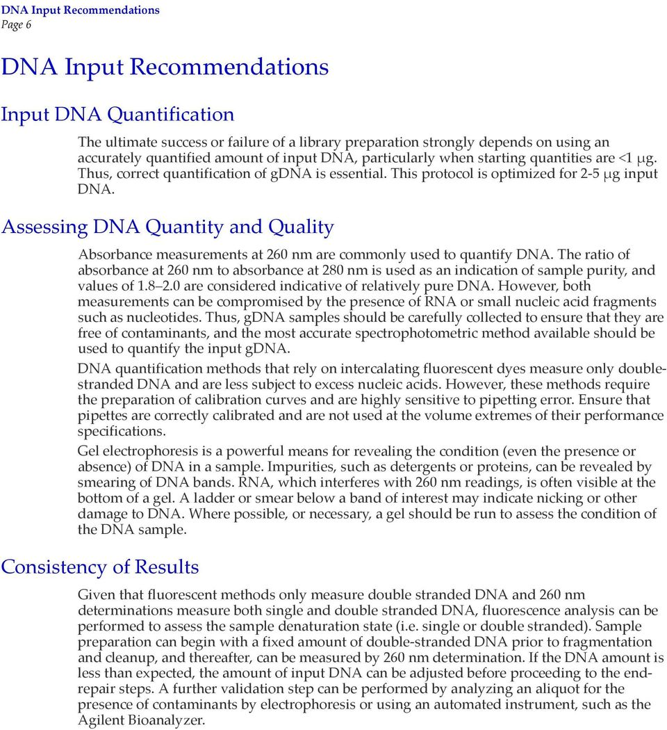 Assessing DNA Quantity and Quality Absorbance measurements at 260 nm are commonly used to quantify DNA.