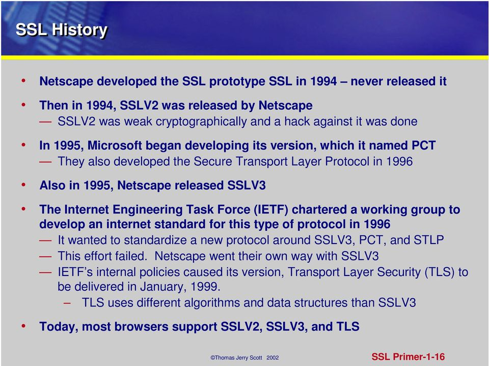 (IETF) chartered a working group to develop an internet standard for this type of protocol in 1996 It wanted to standardize a new protocol around SSLV3, PCT, and STLP This effort failed.