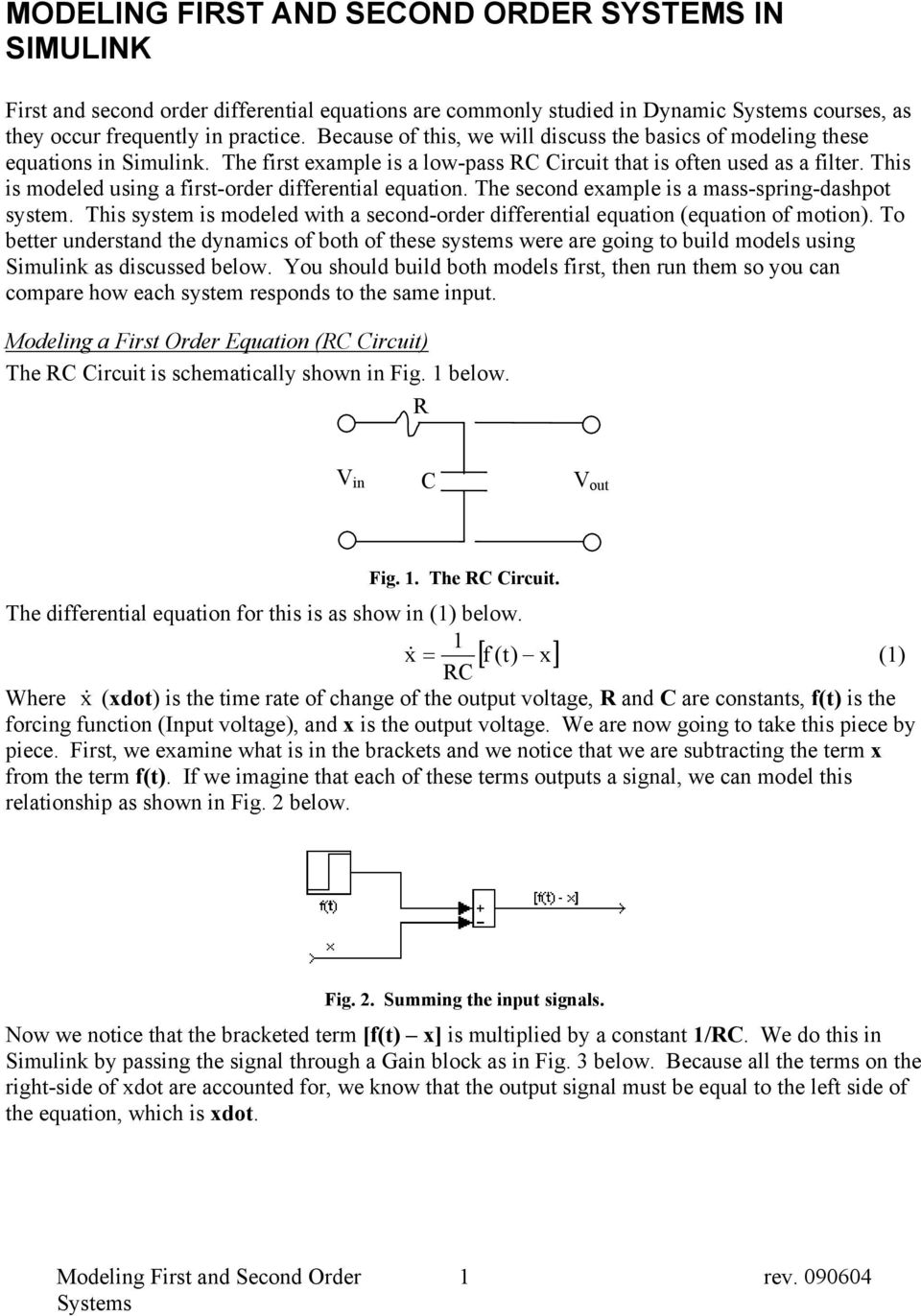MODELING FIRST AND SECOND ORDER SYSTEMS IN SIMULINK - PDF
