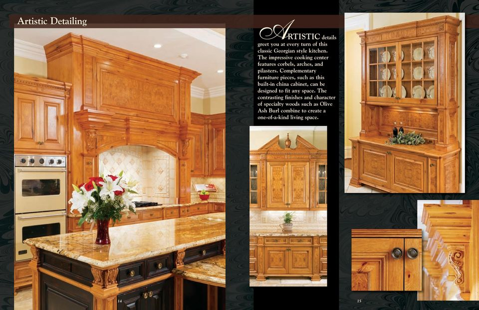 Complementary furniture pieces, such as this built-in china cabinet, can be designed to fit any space.