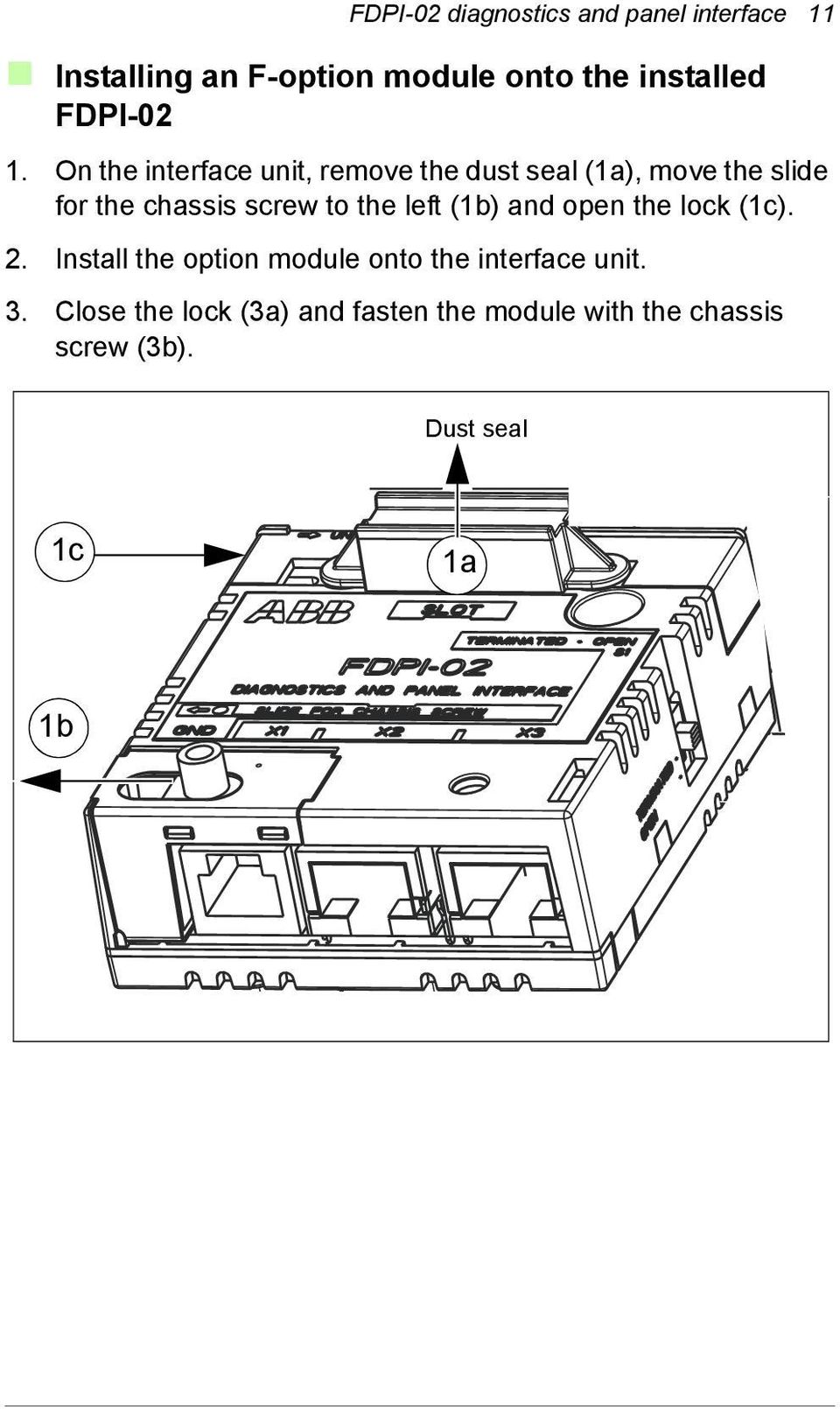 On the interface unit, remove the dust seal (1a), move the slide for the chassis screw to the