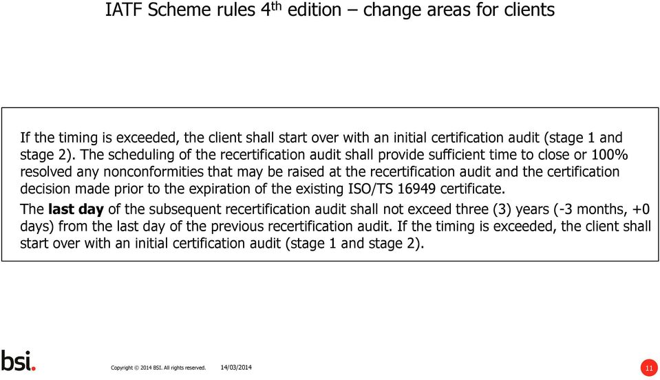 audit and the certification decision made prior to the expiration of the existing ISO/TS 16949 certificate.