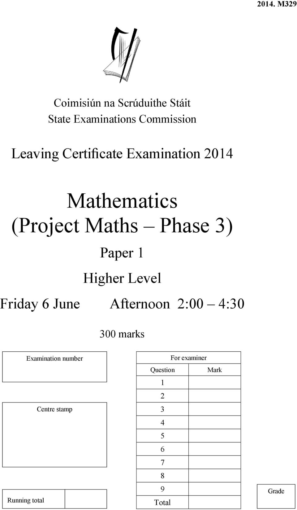 Paper 1 Higher Level Friday 6 June Afternoon 2:00 4:30 300 marks Running