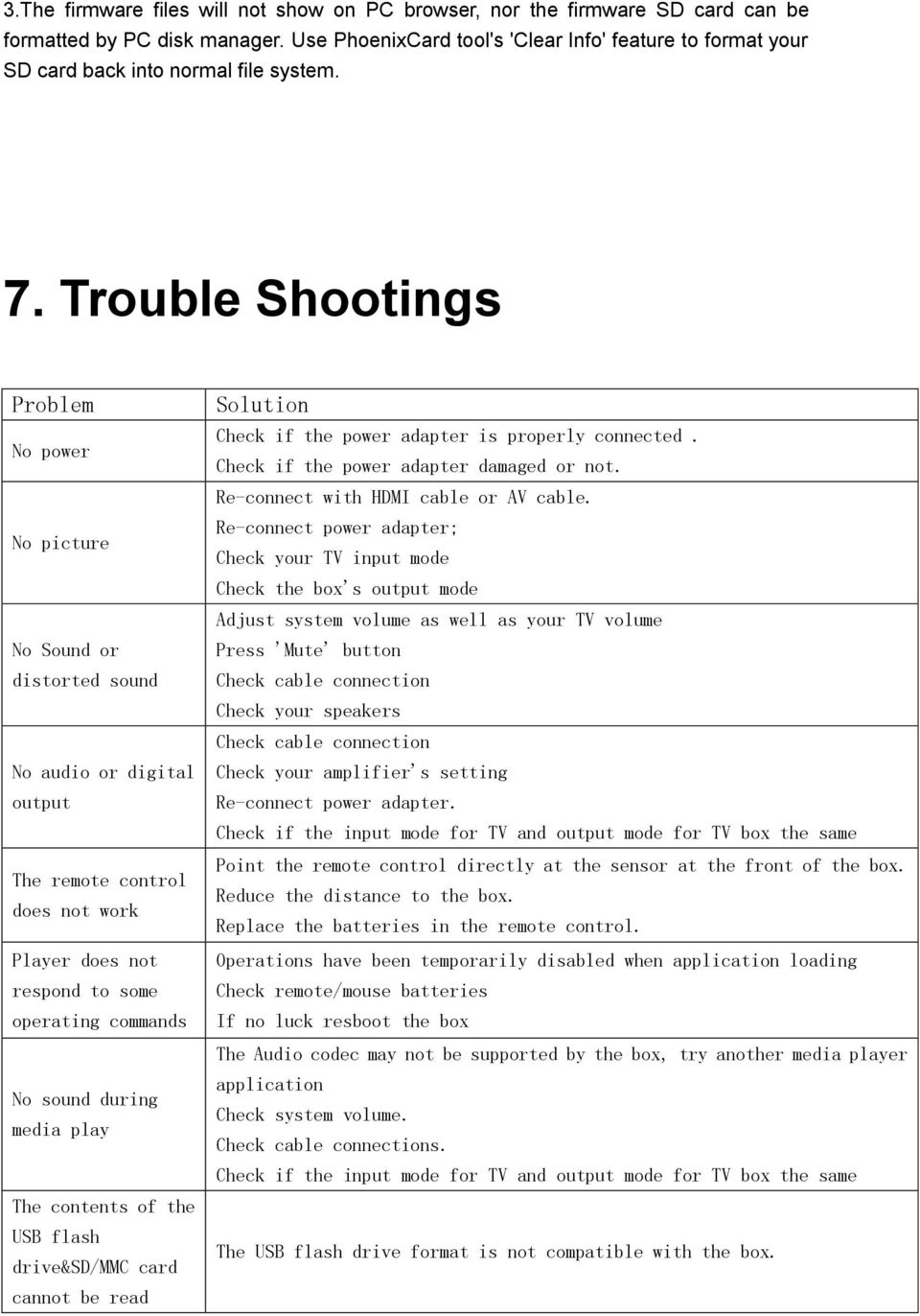 Trouble Shootings Problem No power No picture No Sound or distorted sound No audio or digital output The remote control does not work Player does not respond to some operating commands No sound