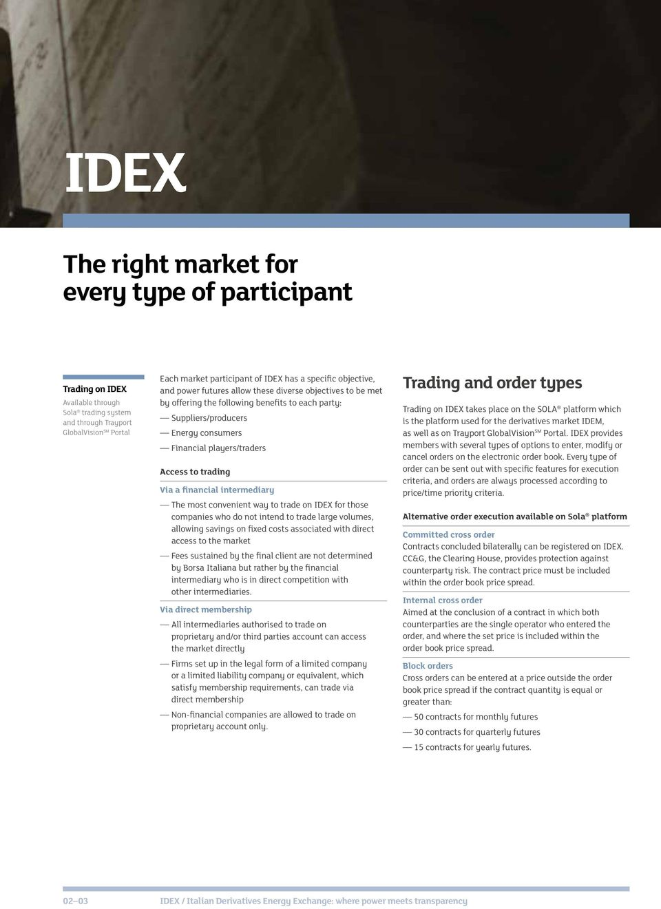 trading Via a financial intermediary The most convenient way to trade on IDEX for those companies who do not intend to trade large volumes, allowing savings on fixed costs associated with direct