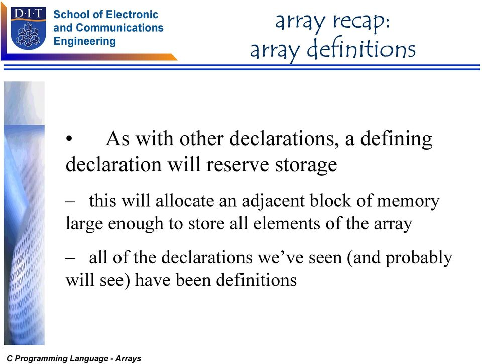 of memory large enough to store all elements of the array all of the