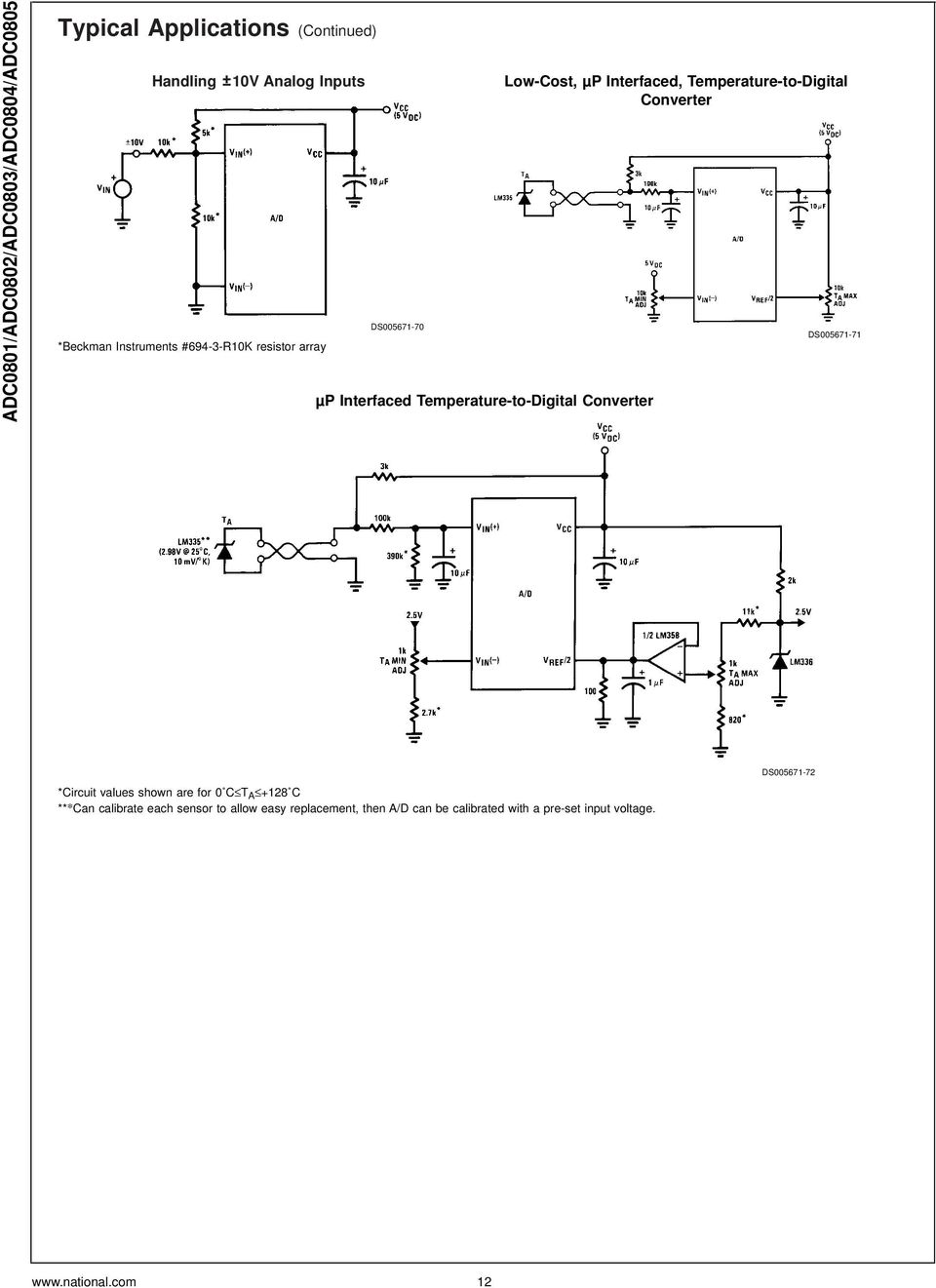Adc0801 Adc0802 Adc0803 Adc0804 Adc Bit P Compatible A D Converters Simple Power Pulse Using By Lm350 And Ne555 Circuit Diagram Interfaced Temperature To Digital Converter Ds005671 71 Values Shown Are