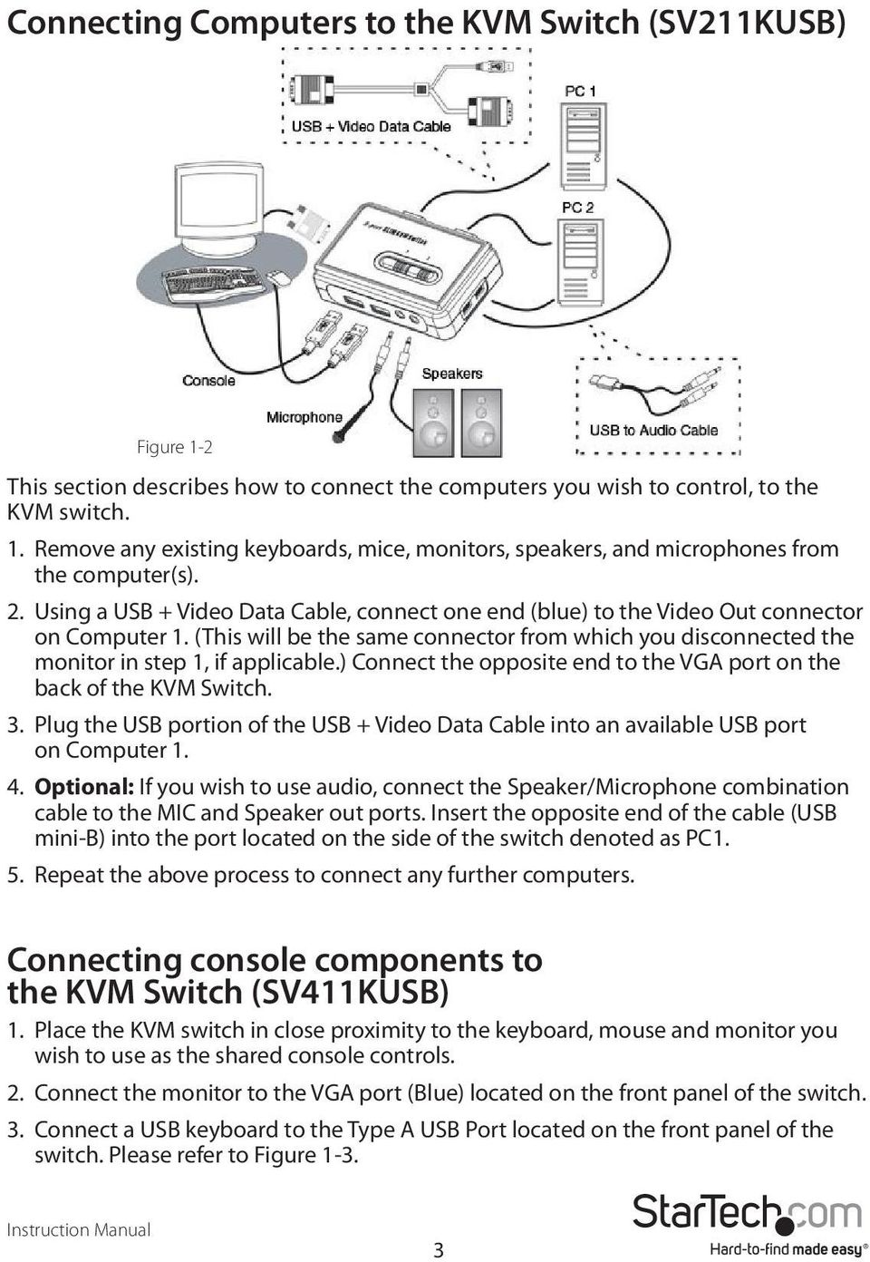 ) Connect the opposite end to the VGA port on the back of the KVM Switch. 3. Plug the USB portion of the USB + Video Data Cable into an available USB port on Computer 1. 4.