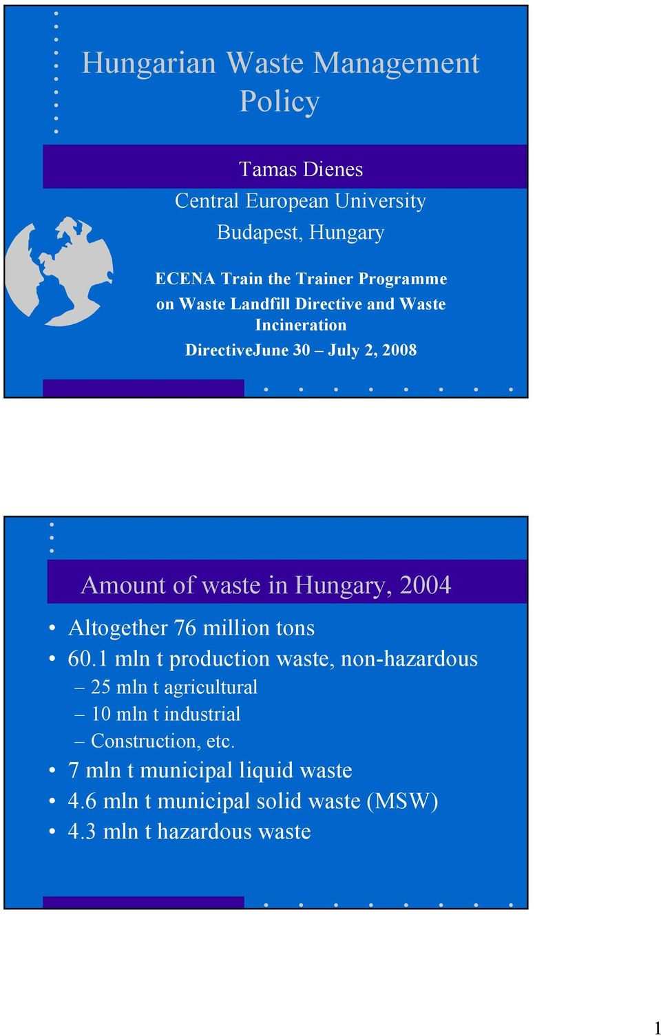 Hungary, 2004 Altogether 76 million tons 60.