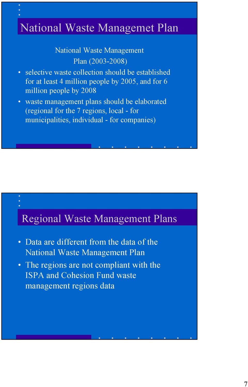 regions, local - for municipalities, individual - for companies) Regional Waste Management Plans Data are different from the data