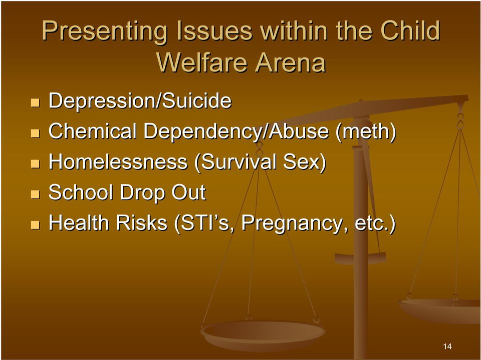 Dependency/Abuse (meth) Homelessness (Survival