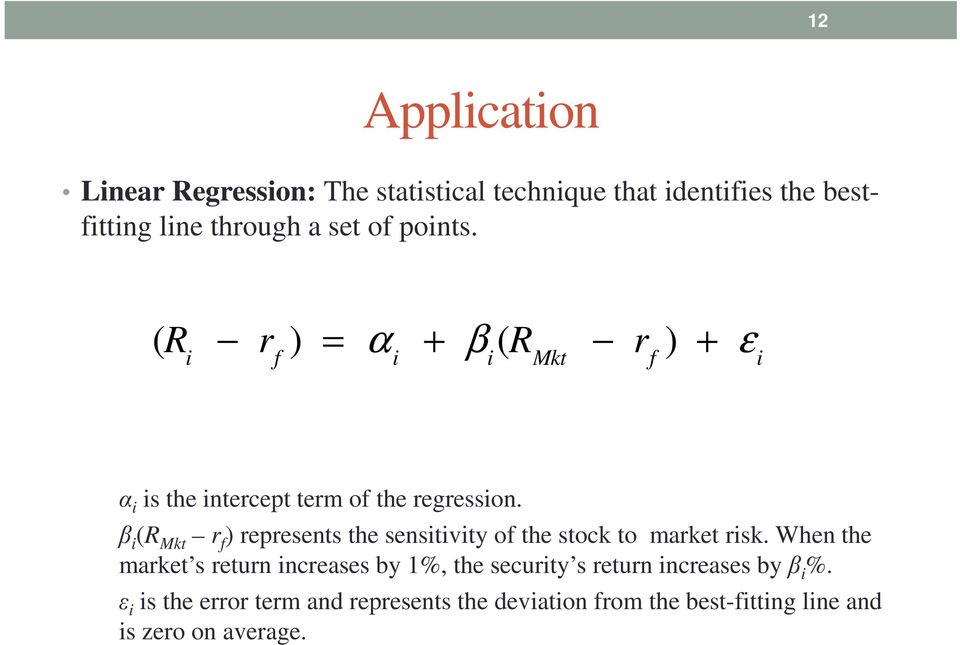 β i (R Mkt r f ) represents the sensitivity of the stock to market risk.