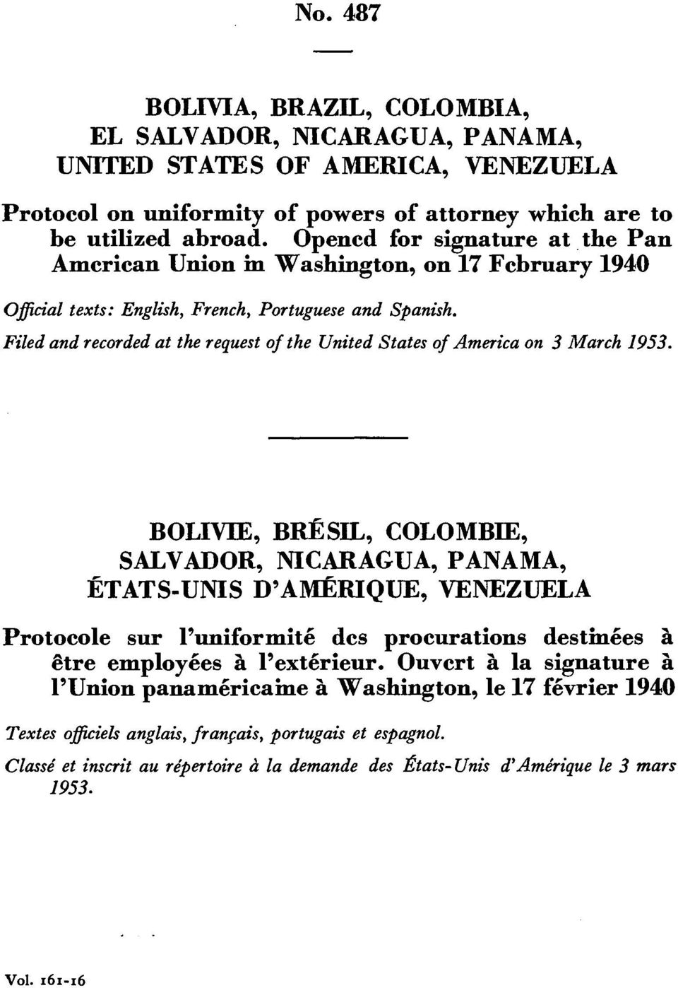 Filedand recordedat the request of the UnitedStates of America on 3 March 1953.
